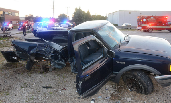 VIDEO Naked Pickup Driver, High on LSD, Rammed 2 Squad
