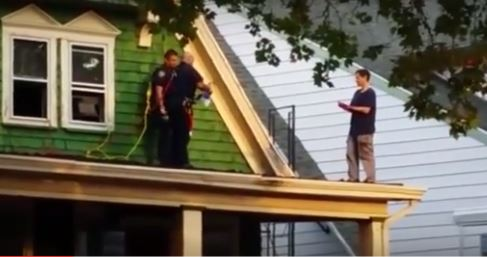 Watch Nypd Stop Man From Jumping Off Roof In Dramatic