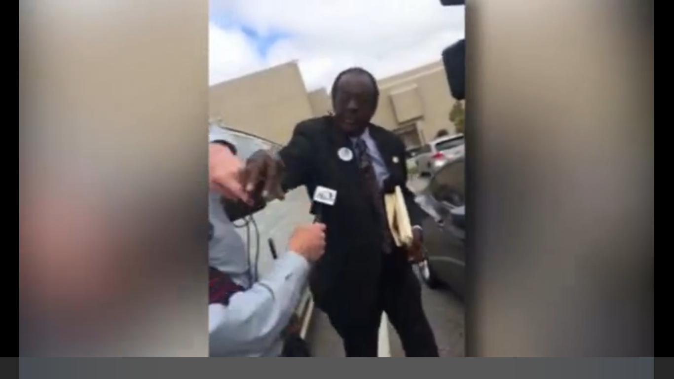 Dothan, ALABAMA -- (Scroll down for video) -- Democrat City Commissioner Amos Newsome was arrested on a third degree assault charge after assaulting a WTVY reporter.