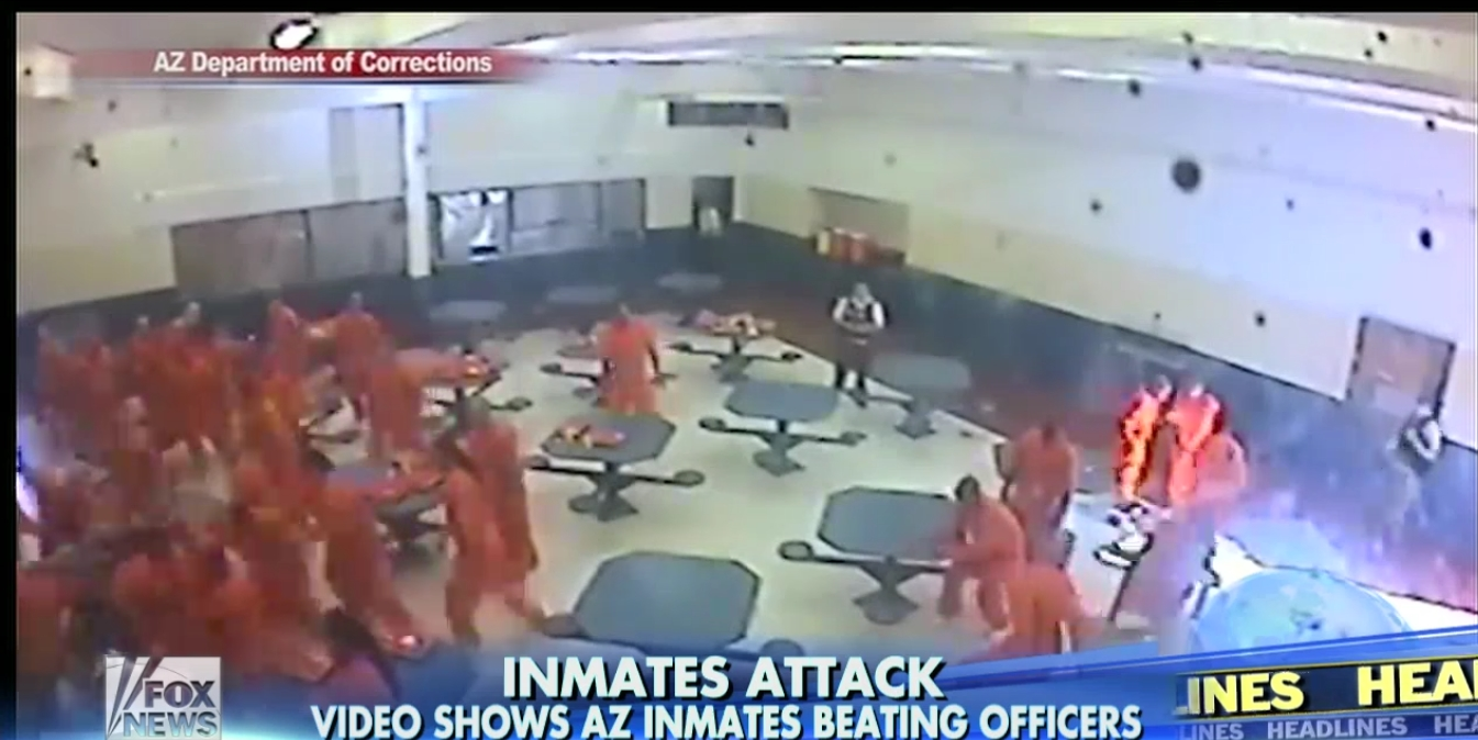 shocking prison cctv captures moment 30 inmates beat correctional officers in arizona