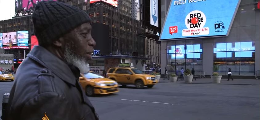 During his 44 years he has been given only the tiniest view of the real-world, so imagine his shock when he walked into New York's Time Square and saw that all the walls were giant moving screens.