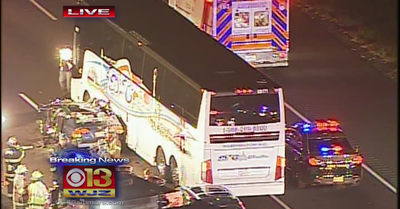 BALTIMORE -- Several people were injured when a tour bus crashed in Harford County, Maryland.