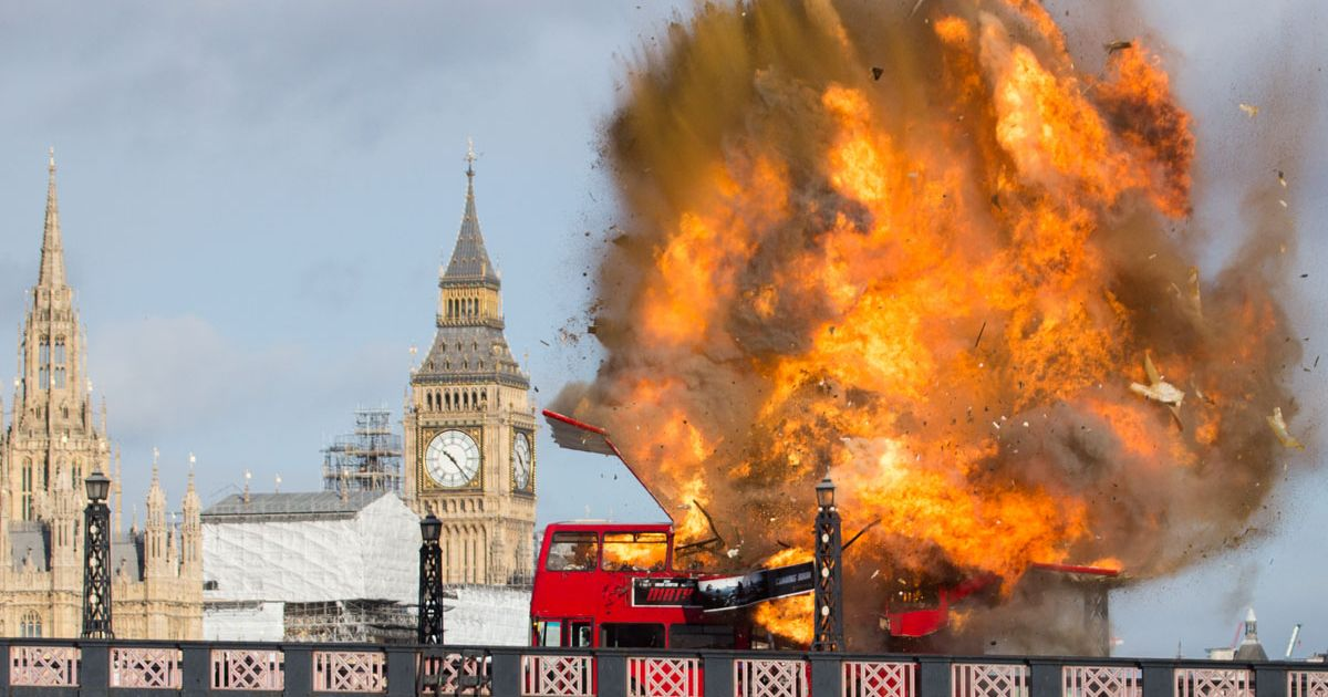 Bus-Explodes-on-Lambeth-Bridge-for-filming-of-Jackie-Chan-Movie-The-Foreigner