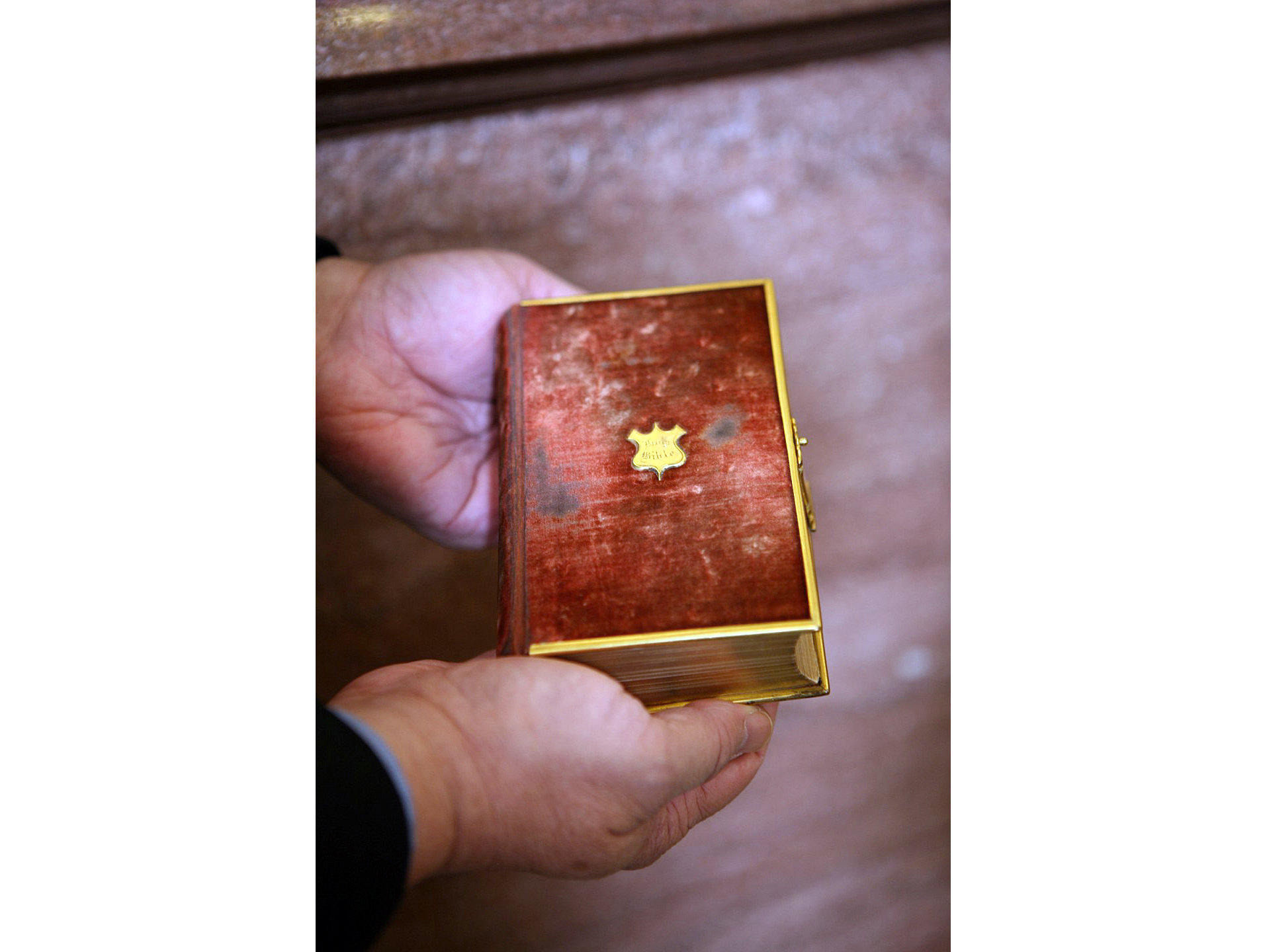 [Abraham Lincoln swore the oath upon this Bible. President-elect Donald Trump has selected it as his swearing-in Bible. / Photo courtesy of the Library of Congress]